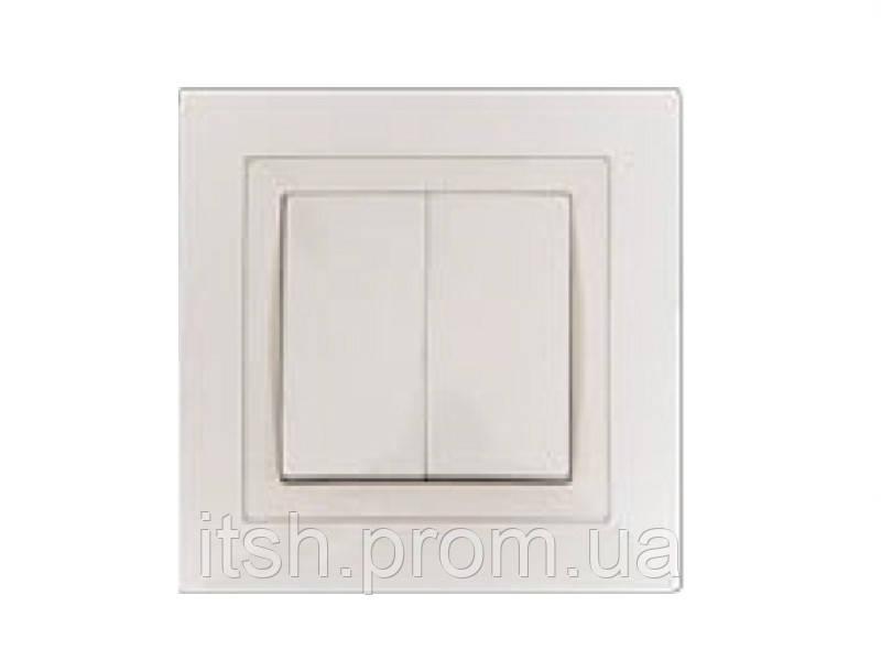 Выключатель двойной врезной Bravo Luxel белый/крем, фото 1