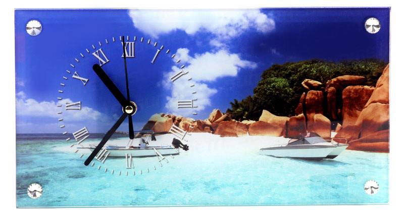 Часы стеклянные прямоугольные с Вашим дизайном