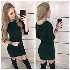 Теплое платье миди длинный рукав шнуровка хаки, фото 3