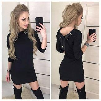 Теплое платье миди длинный рукав шнуровка черный, фото 2