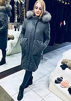Пальто с капюшоном и меховой опушкой