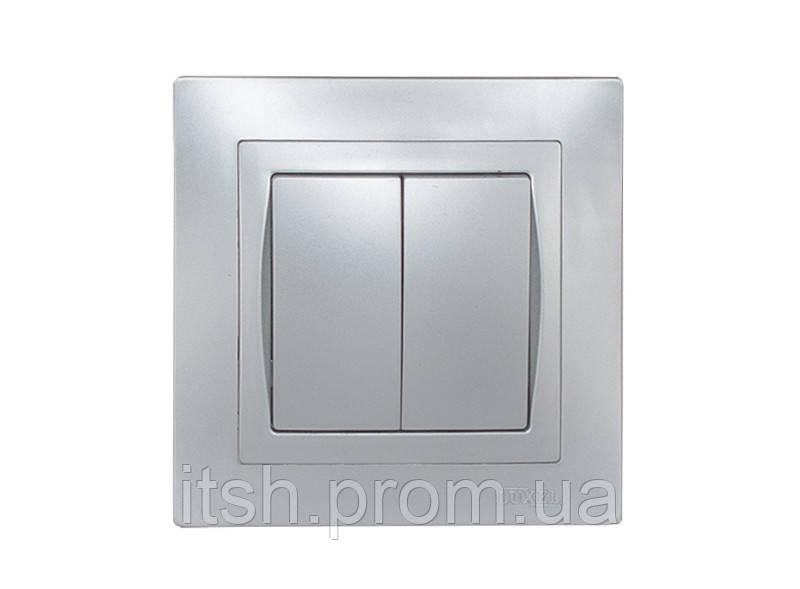 Выключатель двойной Bravo Luxel серебро/платина/антрацит/графит, фото 1
