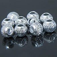 Бусины алюминиевые, серебристые,10мм, 10 шт УТ10007280