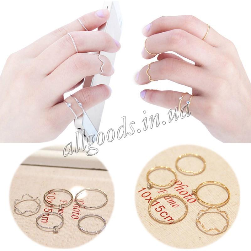 Кольца на фаланги 5шт. серебро, золото