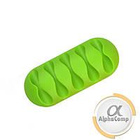 Кабельный органайзер/зажим (5 кабелей) зеленый