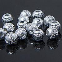 Бусины алюминиевые, серебристые, 6мм, 20 шт УТ10006852