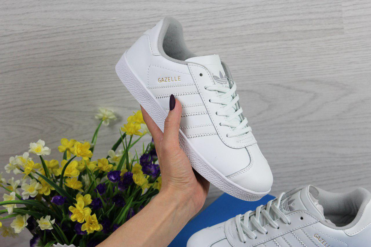 Женские кеды Adidas Gazelle (белые), ТОП-реплика