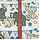 Хлопковая ткань польская слоники с треугольными флажками серо-бирюзовыми №153, фото 2