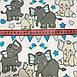 Хлопковая ткань польская слоники с треугольными флажками серо-бирюзовыми №153, фото 3