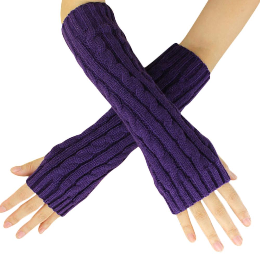 Митенки длинные перчатки без пальцев теплые фиолетовые