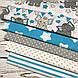 Хлопковая ткань польская слоники с треугольными флажками серо-бирюзовыми №153, фото 4