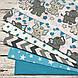 Хлопковая ткань польская слоники с треугольными флажками серо-бирюзовыми №153, фото 5