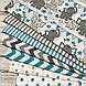 Хлопковая ткань польская слоники с треугольными флажками серо-бирюзовыми №153, фото 7