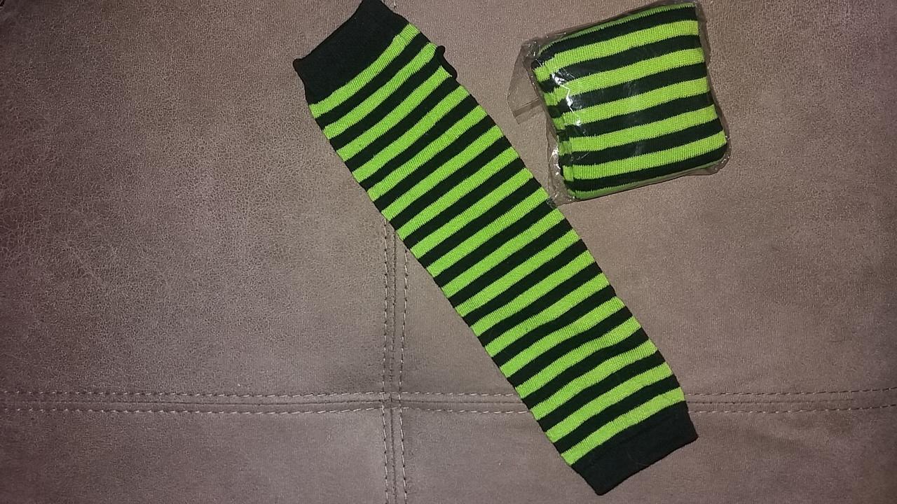 Митенки. Длинные перчатки без пальцев Черно-зеленые