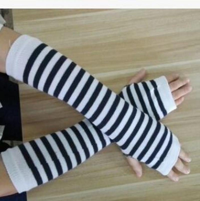 Митенки. Длинные перчатки без пальцев бело-черные