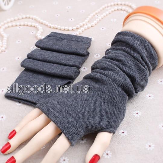 Митенки длинные перчатки без пальцев темно-серые