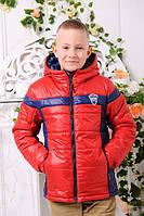 Весенне-осенняя куртка «Месси-1» для мальчика 6-8 лет (размер 30-34 / 116-128) ТМ MANIFIK Красный+темно-синий