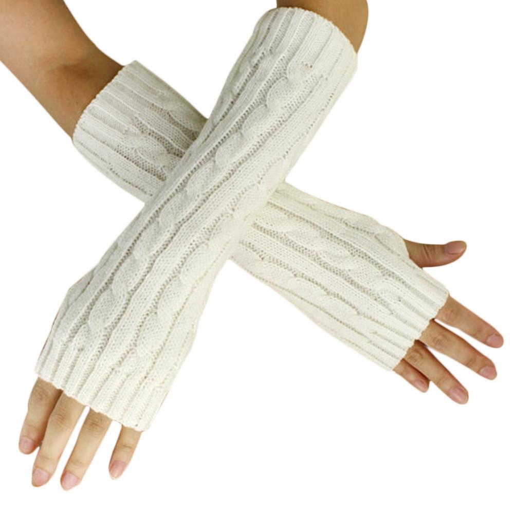 Митенки длинные перчатки без пальцев теплые