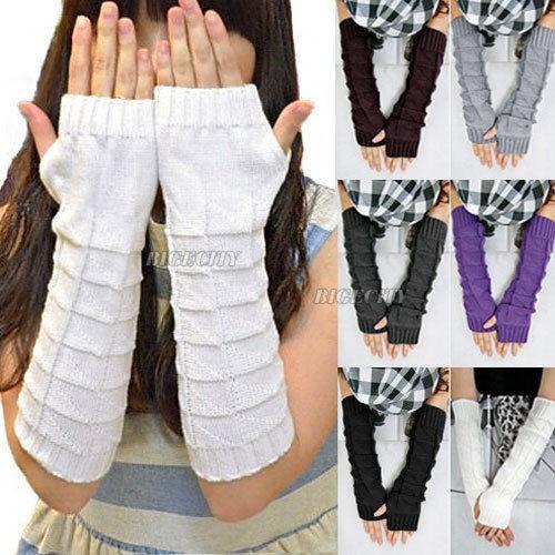 Митенки длинные перчатки без пальцев теплые. серые