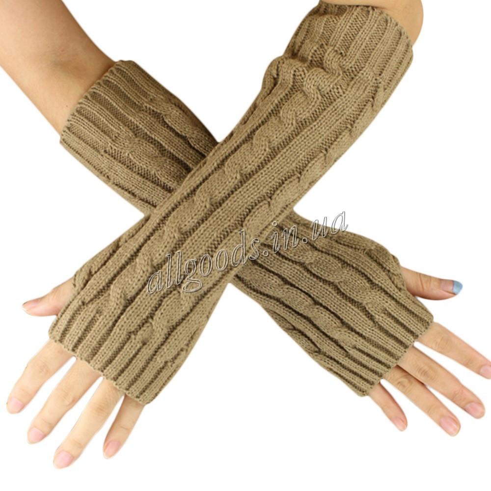 Митенки длинные перчатки без пальцев теплые Черные