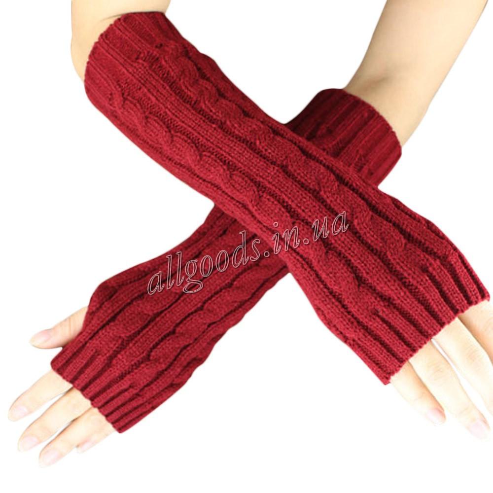 Митенки длинные перчатки без пальцев теплые.Цвет темно-красный