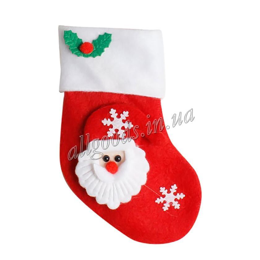 Носок Рождественский. Декор Новогоднего стола Снеговик Санта