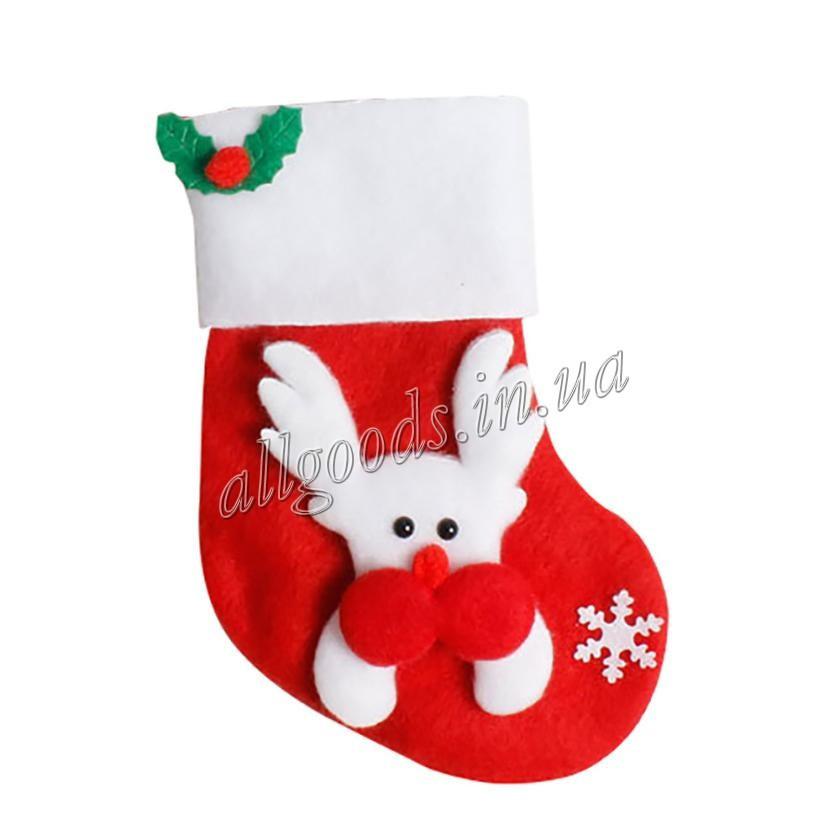 Носок Рождественский. Декор Новогоднего стола Снеговик олень