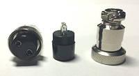 1-0460. Гнездо гарнитурное 2pin,  под кабель, корпус металл.