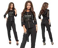 """Стильный женский костюм Блуза+брюки """"Костюмная ткань + эко кожа"""" с поясочком 42 размер норма"""