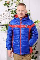 Куртка весенне-осенняя «Месси-2» для мальчика 6-8 лет (р. 30-34 / 116-128) ТМ MANIFIK Синий+красный