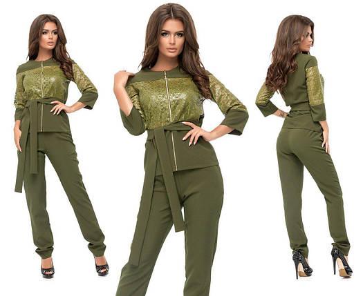 """Стильный женский костюм Блуза+брюки """"Костюмная ткань + эко кожа"""" с поясочком 42 размер норма, фото 2"""