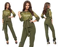 """Стильный женский костюм Блуза+брюки """"Костюмная ткань + эко кожа"""" с поясочком 42, 44 размер норма"""