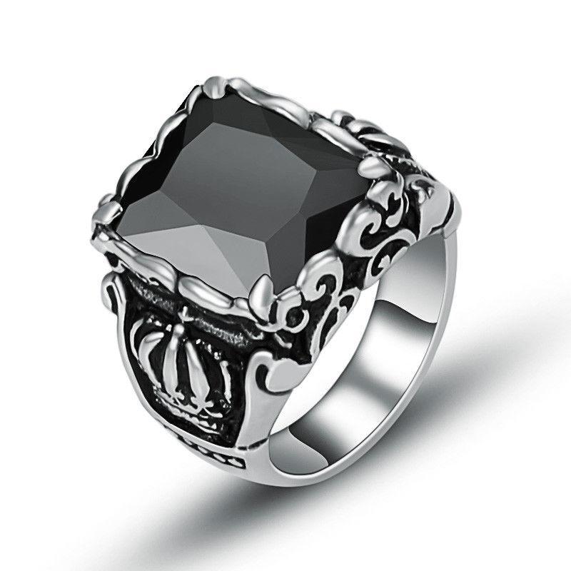 Мужское кольцо с черным ониксом в нержавеющей стали размер 20,5. Шик!!