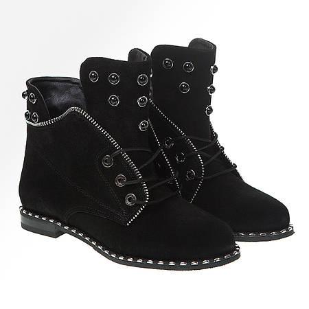 Ботинки женские Attico(черные замшевые с модным декором)