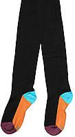 Колготы детские, черные с бордовым носком и оранжевой пяткой, рост 128-134 см, ТМ Дюна