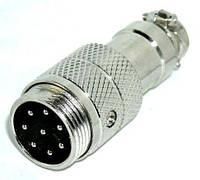 1-0426. Разъем М микрофонный 8-и контакт, под кабель, металл