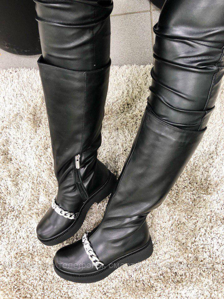 009da18c1464 Женские сапоги кожаные черные с фурнитурой, еврозима, размер 36-40 -  Мобильные телефоны