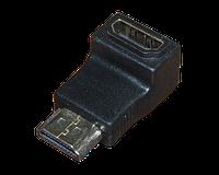 2-0302. Переходник шт.HDMI - гн.HDMI gold угловой пластик в блистере