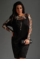 Нарядное черное женское платье большого размера с кулоном