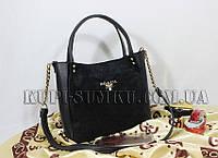 Черная замшевая сумка Прада