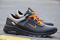 Кроссовки кожаные мягкие   Air мужские черные с оранжевым   Харьков кожа (Код: 115), фото 1