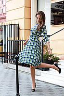 Платье женское в клетку по колено из французского трикотажа фисташка, 48