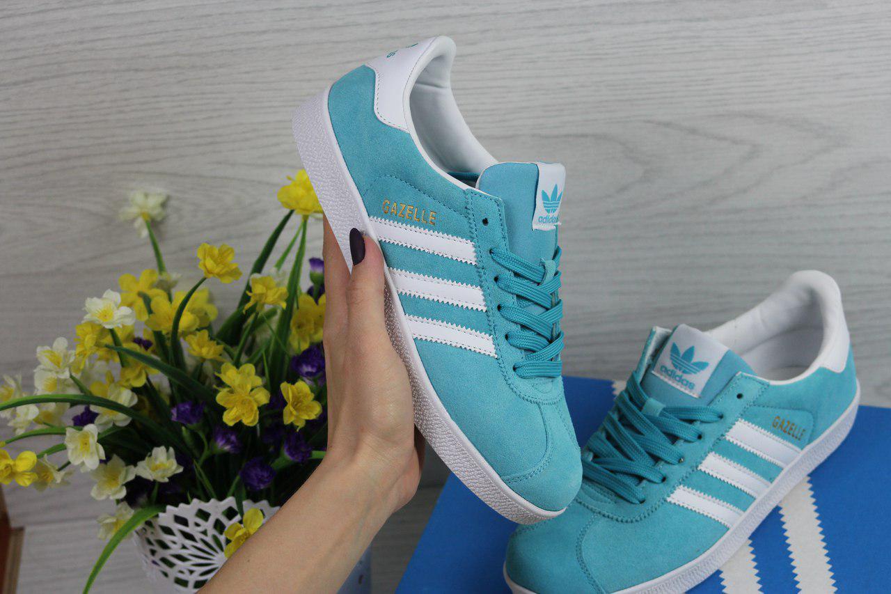 Женские кеды Adidas Gazelle (ярко мятные), ТОП-реплика