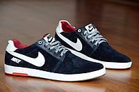 Кроссовки кеды слипоны натуральная кожа, замша Nike найк мужские удобные реплика черные (Код: 348)