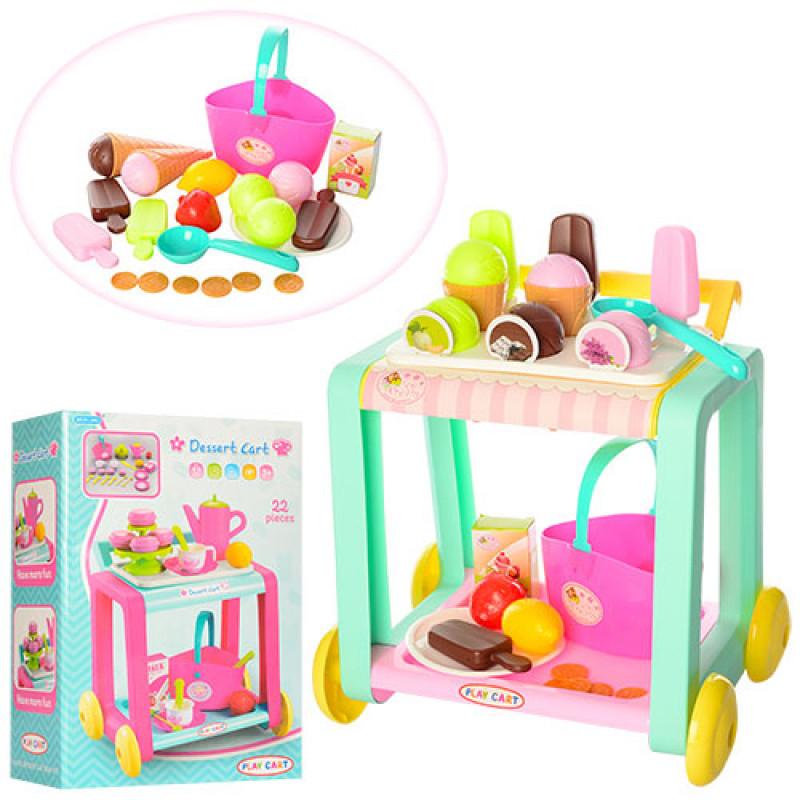Игровой набор Тележка сладостей (тележка для посуды и продуктов), мороженое, сладости, корзинка, 362-363