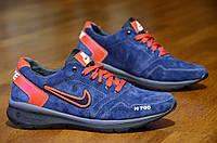 Кроссовки натуральная кожа, замша Nike найк мужские реплика синие с красным Харьков (Код: 357), фото 1