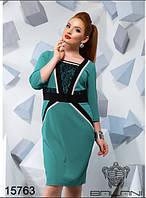"""Стильное женское платье """"ткань креп-дайвинг + гипюр"""" бир 50, 52 размер батал"""