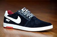 Кроссовки кеды слипоны натуральная кожа, замша Nike найк мужские удобные реплика черные (Код: 348а)