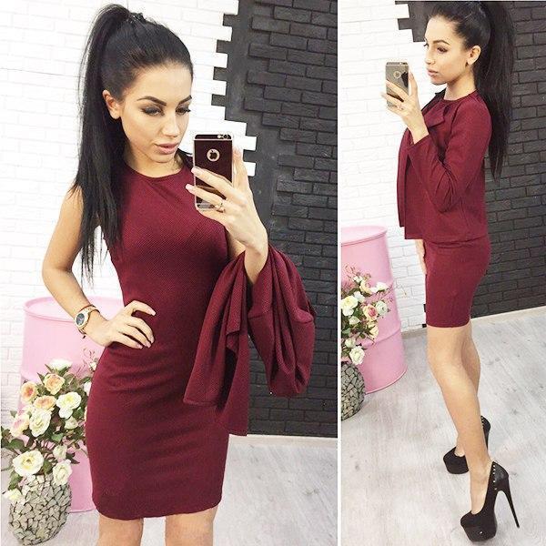 Элегантный классический женский костюм платье и жакет Эсмик,бордовый