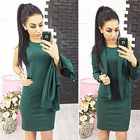 Элегантный классический женский костюм платье и жакет Эсмик,темно-зеленый